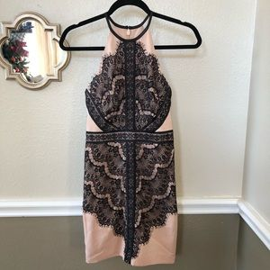 Bebe Nude color black lace trim dress